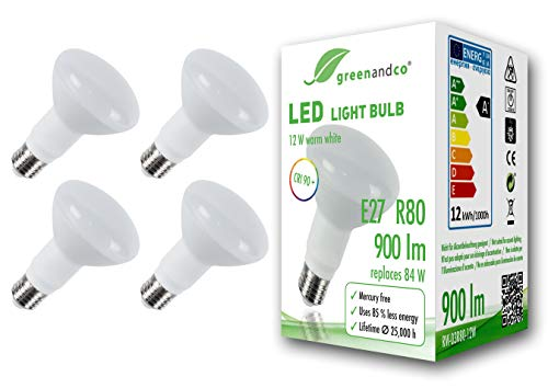 4x greenandco® CRI 90+ LED Lampe ersetzt 84 Watt R80 E27 matt, 12W 900 Lumen 3000K warmweiß 160° 230V AC, flimmerfrei, nicht dimmbar, 2 Jahre Garantie