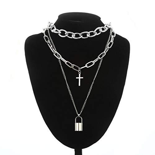WDam Collier chaîne en Couches Punk Mode Croix pendentifs Femmes Hommes Grunge esthétique Alternative Goth Cadeaux, Argent