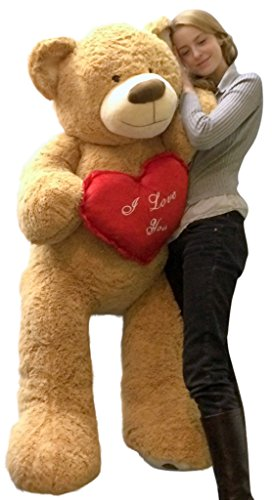 I Love You Giant Teddy Bear 5 Foot Soft Tan 60 Inch, Holds Heart Pillow
