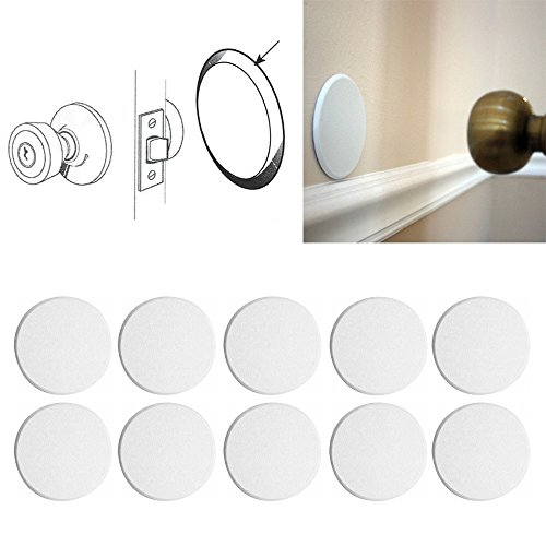 10X Round Self Adhesive Paintable Door Knob Wall Protector Shield White Stop New