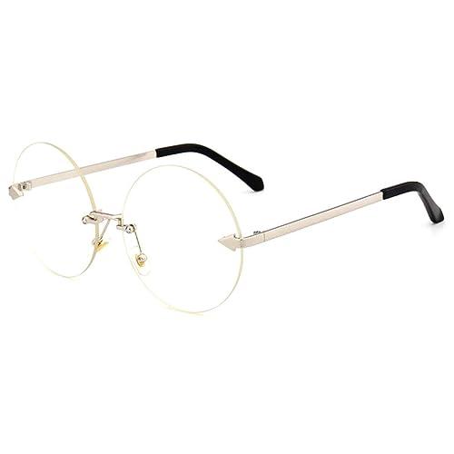 0df6ab184cd GAMT Oversized Arrow Rimless Round Sunglasses for Men and Women Frameless  Eyeglasses