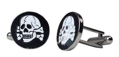 Deutsche WW2 Skull 'Totenkopf' Manschettenknöpfe Emaille im Geschenkkarton