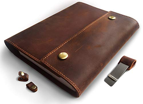 Albero Refillable Leather Journal for Men and Women � Spiral Bound Notebook 240 Pages � A5 Lined Journal Cover � 5x8 Inches Brown Vintage Diary for Travel and Business - by Le Vent