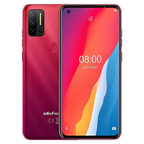 Android 11 Teléfono Móvil Libres, Ulefone Note 11P 4G Smartphone,Helio P60 Octa-Core 8GB+128GB,Dual SIM+ Dedicada SD Extensión 2TB, Cámara Cuatro 48MP, Pantalla HD+ 6.55'', GPS Huella Digital Rojo