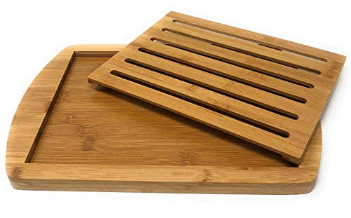 MGE - Tabla para Cortar el Pan - Tabla con Rejilla Extraíble para Migas - Bambú - 36 x 25 cm