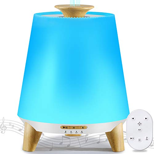 Remote Control Essential Oil Diffuser, Bluetooth Music Diffuser for Essential Oil, 300ML Ultrasonic Aroma Diffuser with Waterless Auto Shut-Off, 8 Color Change Table Lamp for Bedroom, Office (White)