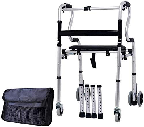 SAIYI Ältere faltbaren Rollstuhl for Oma Opa GIF Faltbare Rollator Walker, Leicht Behinderte Rehabilitation Rollator mit Ledersitz, 6 Räder Abbremsbare höhenverstellbar for Erwachsener Alter