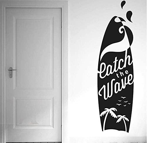 Mural De Pared Tabla De Surf Pegatinas De Pared Calcomanías Artísticas De Vinilo Coco Silueta De Gaviota Calcomanía Deportiva Para Dormitorio Impermeable 21 * 76Com