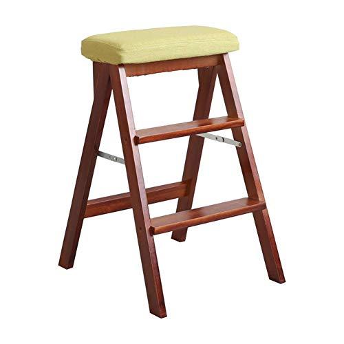 LZQBD Stegpallar, stege pall lager stark vikbar säkerhet halkfri fotdyna dubbel användning stege stol andra beställningen, massivt trä, F, 42 x 48 x 63 cm