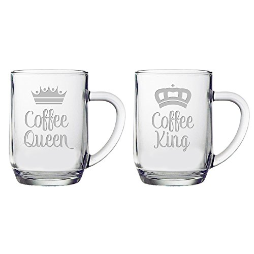 Susquehanna Glass King and Coffee Queen All Purpose Mug (Set of 2), 20 oz, Hand Etched