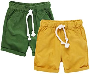 HILEELANG Baby Boys Shorts 2 Pack Chino Short Summer Cotton Casual Pants with Pockets Yellow product image