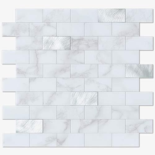 BeNice Imitation Marbling Brick Tiles Peel and Stick, Stick on Backsplash Bathroom Kitchen Wall Tiles Min-Subway Waterproof Heat Resistant White