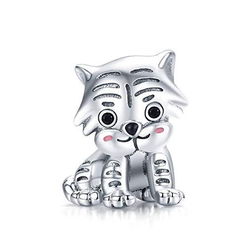Silver Bead Charms,Fit Woman Bracelet Silver 925 Bow Dog Bear Paw Flying Dinosaur Charms S925 Squirrel Nut Bull Beads Diy Jewelry-Tiger