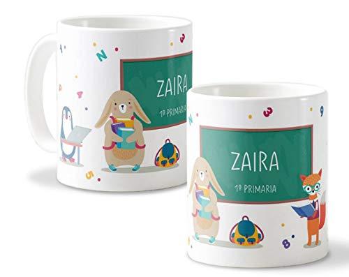 Getsingular Tazas de Plástico Infantil Personalizadas con Nombre |Taza para la Vuelta al Cole | Varios diseños a Elegir