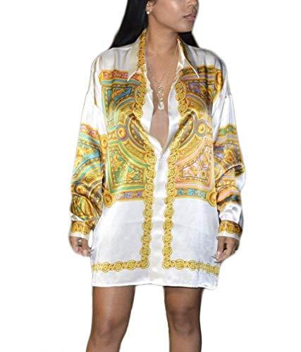 Remelon Womens Tribal Gold Block Print Button Down Collar Long Shirt Dress Blouse Mini Dress White L