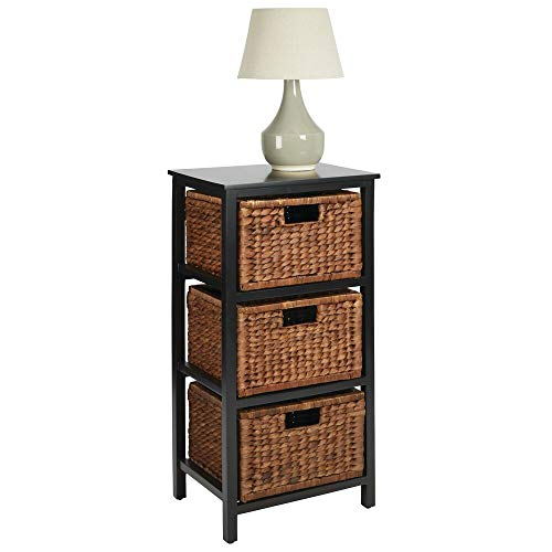 mDesign Bedside Table with Drawers – Wooden Side Table with 3 Water Hyacinth Basket Drawers – Stylish Black Bedside Table and Storage Unit – Black/Dark Brown