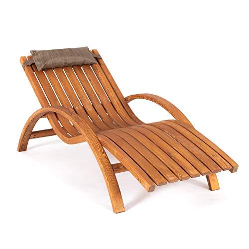 Ampel 24 Relax Relaxliege Borneo aus Holz mit Armlehnen und Kopfkissen