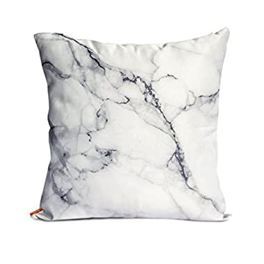 OJIA Luxury Home Decorative Soft Silky Satin Marble Texture Two Sides Personalized Throw Cushion Cover / Pillow Sham (12 X 20 Inch, White Marble)
