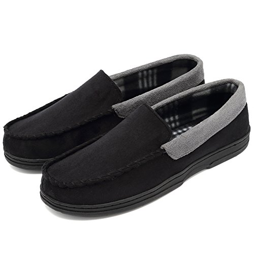 CIOR Fantiny Men's Casual Memory Foam Pile Lined Slip On Moccasin Flats Slippers Micro Suede Indoor Outdoor Rubber Sole-U1MTM011-Black-45