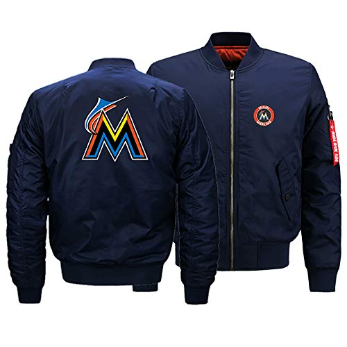GMRZ MLB Herren Jacke, Mit Miami Marlins Logo Major League Baseball Team Sweatshirts Fans Jerseys Sweatjacke Mit Warm Winter Outdoor Ski-Jacket,D,5XL