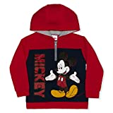 Disney Boy's Mickey Mouse Pullover Half Zip Hooded Jacket, Red/Blue, Size 4T
