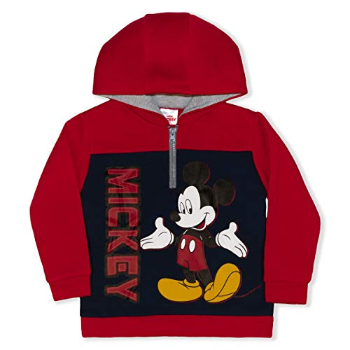 Disney Boy's Mickey Mouse Pullover Half Zip Hooded Jacket, Red/Blue, Size 2T
