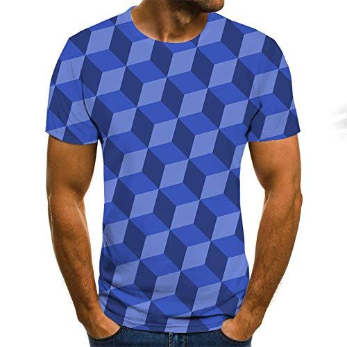 yyqx container Hombre 3D Graphic Print Camisetas Púrpura Cubo Mediano Escalera Hombres Camiseta 3DT Manga Corta Cuello Redondo impresión Digital Casual Manga Corta-Color_M