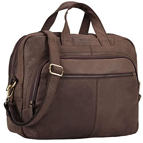 STILORD 'Alan' Leder Umhängetasche groß Herren Damen Vintage 15,6 Zoll Laptoptasche XL Arbeitstasche Lehrertasche Arbeit Büro Uni echtes Leder, Farbe:matt - Dunkelbraun