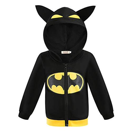 YEMAO Kinder-Superheld Batman Hoodie Taschen Zipper Langarm-Sweatshirt-Jacke für Junge Mädchen,Black-130