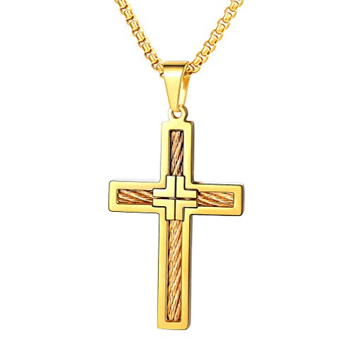FaithHeart Kreuzanhänger Halskette für Herren Damen Frauen Gelb Geschenke für Neujahr