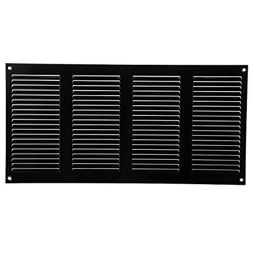 Vent Systems Rejilla de ventilación de metal para rejilla de ventilación de 20 x 400 mm, color negro