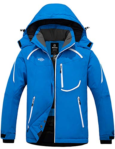 Wantdo Men's Waterproof Ski Jacket Windproof Winter Warm Snow Coat Blue L