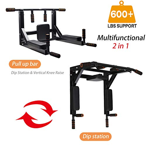Product Image 2: Slsy Multifunctional Wall Mounte Pull Up Bar and Dip Station, Wall Mounted Chin Up Bar for Home Gym, Power Tower for Home Gym, Supports to 600 Lbs