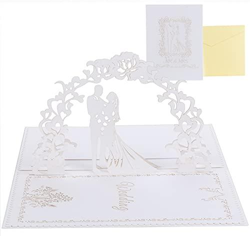 Adorfine Pop-Up Hochzeitskarte Brautpaar, Weiß Pop Up 3D Karte mit Umschlag, Valentinstag Karte Glückwunschkarte für Hochzeitstag, Hochzeitsgeschenk, Hochzeitseinladung