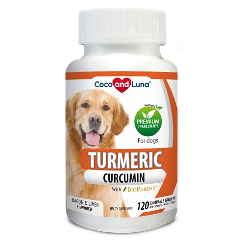 Turmeric for Dogs - Anti Inflammatory for Dogs - Curcumin and BioPerine  Antioxidant  Promotes Pet Mobility and Pain Relief  Ease Joint Pain and Swelling… (120 Tablets)