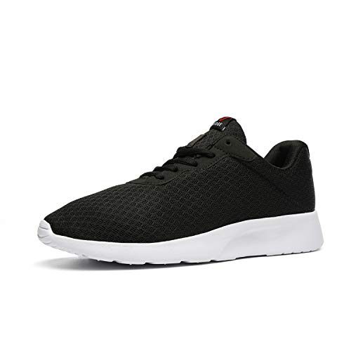 AONVOGE Mens Gym Running Shoes, Lightweight Breathable Mesh Casual Sports, Athletic Tennis Workout Walking Sneakers, Black White, Size 9.5