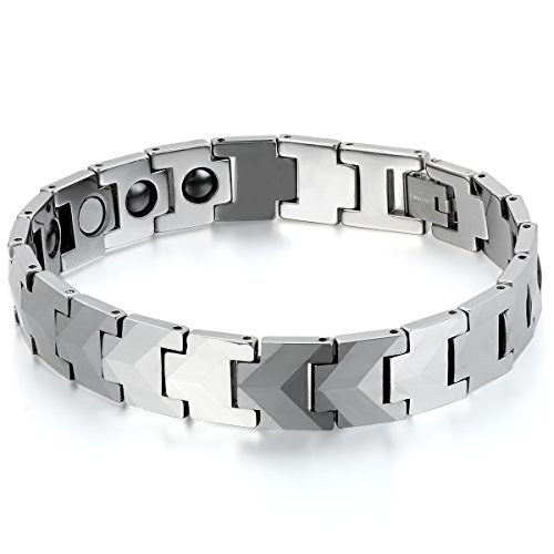 JewelryWe Schmuck Herren Armband, Wolfram Wolframcarbid, Klassiker Poliert Magnetarmband Armkette, Silber