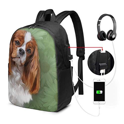 Schultaschen Für Frauen Zeichnung Hund Cavalier King Charles Spaniel Portrai Mädchen Laptop Rucksack Mit USB Ladeanschluss Und Kopfhöreranschluss Für College Work Travel