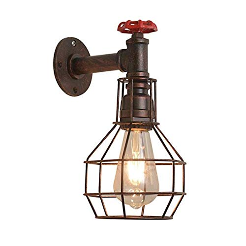 Lámpara de Pared Con Iluminación Decorativa Lámpara de pared industrial, Estilo E26 de la vendimia con base metálica del accesorio ligero de la pared, forma del diamante del estilo del hierro alambre