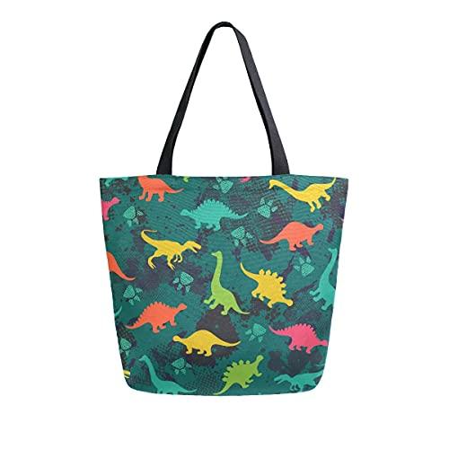 AHYLCL Dinosaur Paws Pattern Tote Bag Canvas Shoulder Bag Reusable Large Multipurpose Use Handbag for Work School Shopping Outdoor