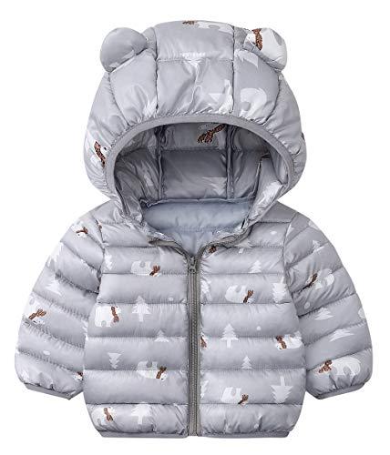 DEMU winterjas baby berenoren capuchon jas gewatteerde mantel sneeuwpakken capuchon mantel 80 grijs