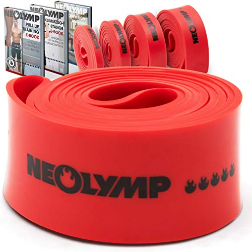 NEOLYMP Premium Pull Up Fitnessband | Perfekt für Muskelaufbau und Crossfit Freeletics Calisthenics | Fitnessband Klimmzugband Widerstandsband (Rot Stufe 5)