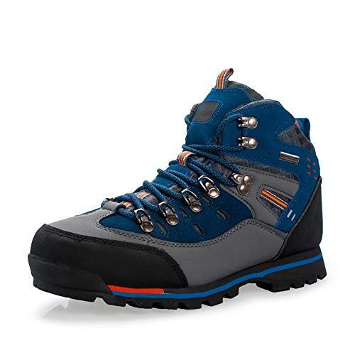 QETUOA Botas De Montaña Altas Impermeables Aire Libre para Hombres Zapatos Deportivos Antideslizantes Resistentes Desgaste Transpirables Zapatos Correr Campo Traviesa (Azul,43)