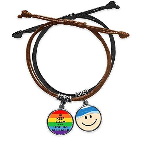 Gay Lesbianas Transgénero Bisexuales LGBT Pulsera de cuerda para la mano de cuero sonriente