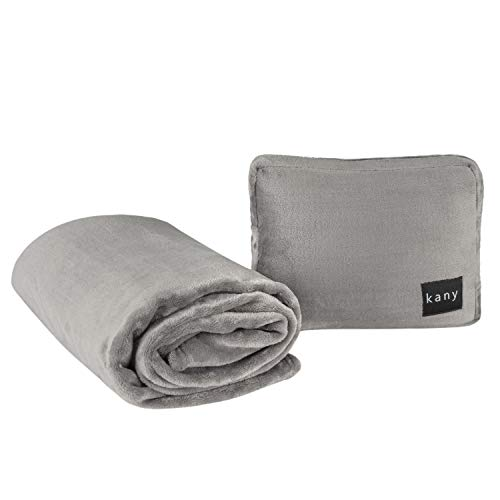 kany Luxury Travel Blanket Pillow with Foot Pouch | 2-in-1 Ultrasoft | Lightweight, Packable, Carrying Bag with Luggage Strap | Airplane, Train, and Car Use | Neck and Lumbar Support (Charcoal Grey)