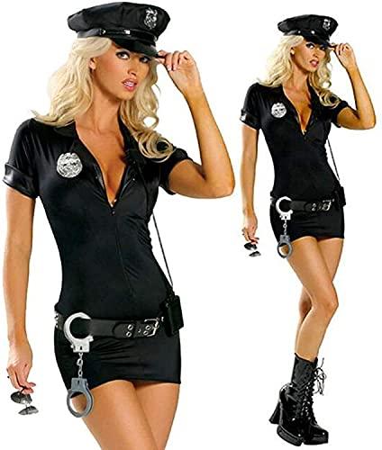 Disfraz policia mujer,Mujer policía Vestido de policía Sexy, Uniforme de Cosplay de Mujer policía, El Uniforme Negro tienta a la Ropa del Bar, Disfraz de Fiesta de Carnaval de Halloween