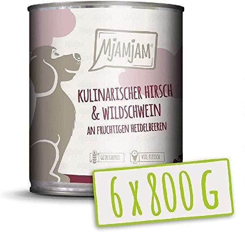 MjAMjAM - Premium Nassfutter für Hunde - kulinarischer Hirsch & Wildschwein an Preiselbeeren, 6er Pack (6 x 800 g), getreidefrei mit extra viel Fleisch