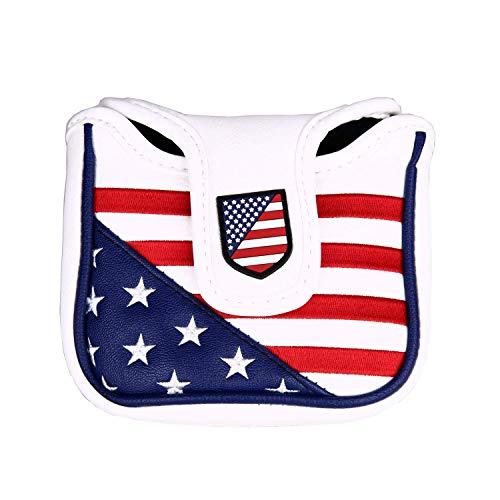 高級pu革 パターカバー 磁石タイプ開閉 オデッセイ・テーラーメイド スパイダーパターに対応 USA アメリカ国旗