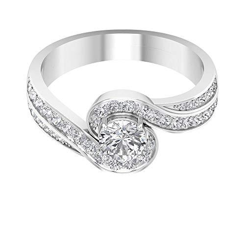 Anillo de compromiso con vástago en espiral, HI-SI, anillo de diamante solitario de 1 ct, anillo de boda con halo, anillo de declaración nupcial, 14K Oro blanco, Diamante, Size:EU 57