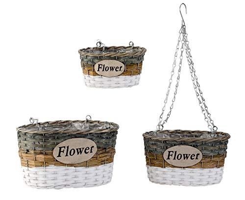 Lifestyle & More hangmand planten pot om op te hangen bloempot in set van 3 hoogte 49-64 cm breedte 22-33 cm